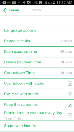 7 minute workout-settings