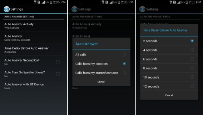 Handsfree Answer Settings