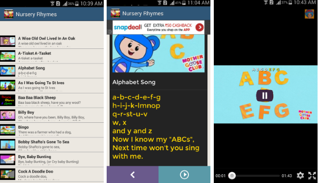nursery rhymes vide & lyrics list
