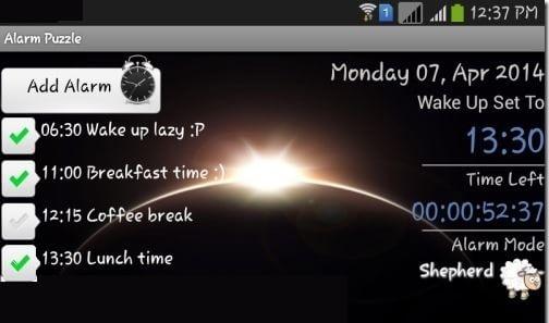 Alarm Puzzle-Create Alarm