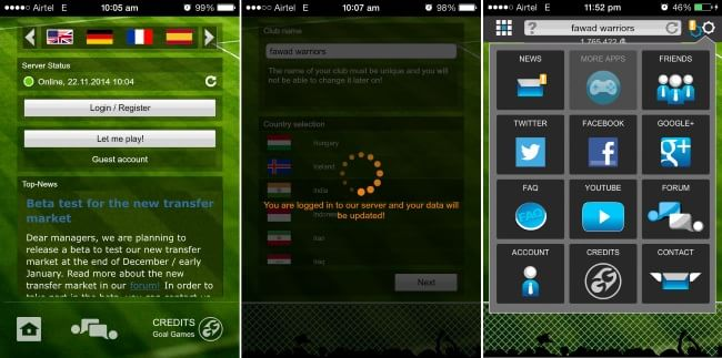 Goal Football Manager- Interface