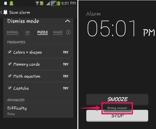 Puzzle Alarm Clock- Dismiss modes