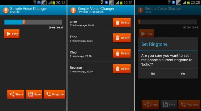 Simple Voice Changer- Save, Share, Set as Ringtone
