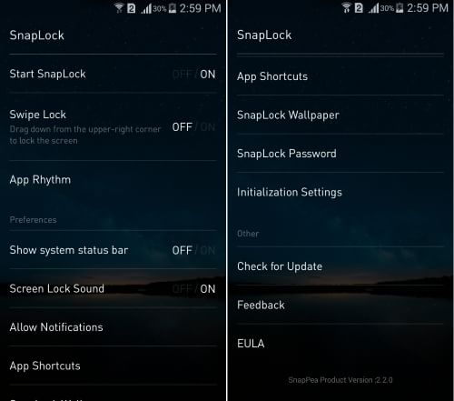 SnapLock-lock screen app- Settings