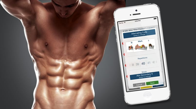 Workout Journal: What to Track and How to Do It -- Man with defined abs next to app for alternating curls