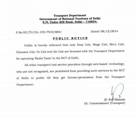Transport department letter