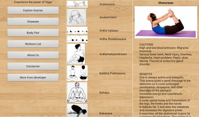 Yoga asanas chart with name